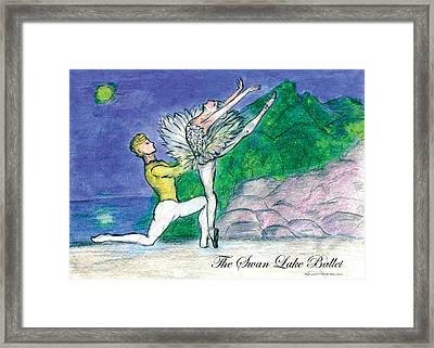 Swan Lake Ballet Framed Print by Marie Loh