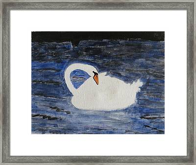Framed Print featuring the painting Swan  by Sonali Gangane