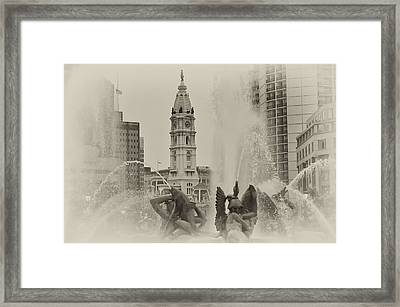 Swann Memorial Fountain In Sepia Framed Print by Bill Cannon