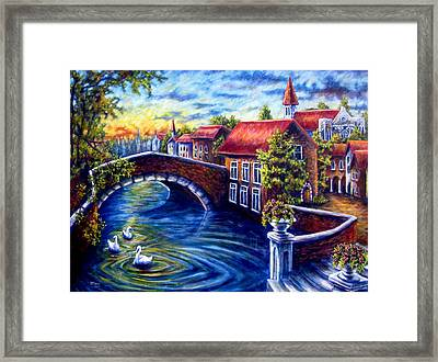 Swans In Venice Framed Print