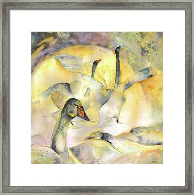 Swans Lake Framed Print by Miki De Goodaboom