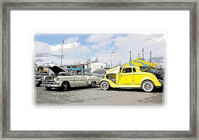 Swap Meet Plymouth And Chevy  Framed Print by Steve McKinzie