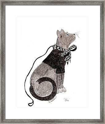 Sweater Cat Named Blue Framed Print