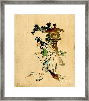 Sweeping Pine Needles 1840 Framed Print by Padre Art