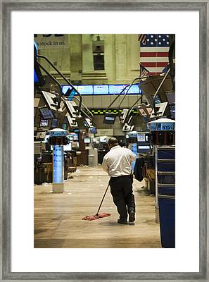 Sweeping The Floor Of The New York Framed Print by Justin Guariglia