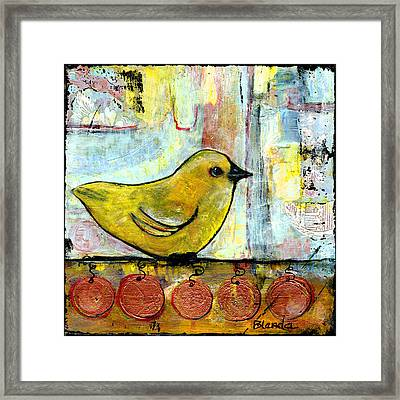 Sweet Green Bird Framed Print by Blenda Studio