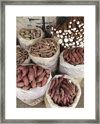 Sweet Potato And Cassava Roots Framed Print by Bjorn Svensson