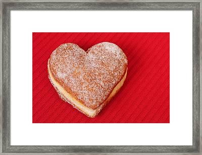 Sweet Valentine Love - Heart-shaped Jam-filled Donut Framed Print