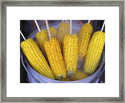 Sweetcorn Cobs Being Cooked Framed Print by Bjorn Svensson