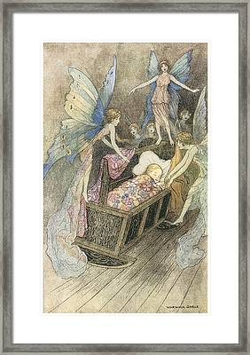 Sweetly Singing Round About They Bed Framed Print by Warwick Goble