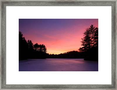 Swift River Connors Pond Winter Sunset Framed Print by John Burk