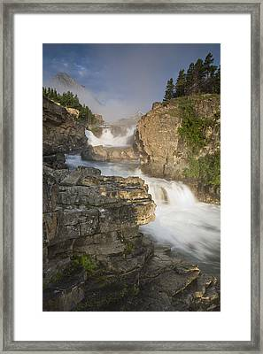 Swiftcurrent Falls And Mount Grinnell Framed Print