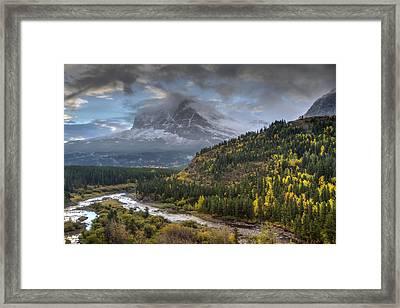 Swiftcurrent River Overlook Framed Print by Mark Kiver