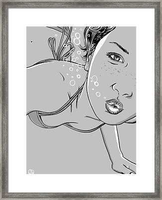 Swimming Girl Framed Print by Giuseppe Cristiano