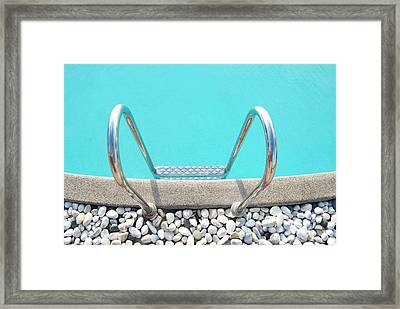 Swimming Pool With White Pebbles Framed Print by Lawren