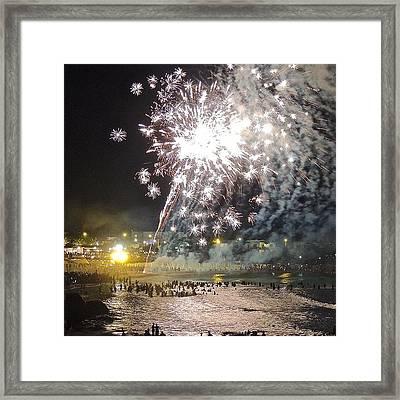 Swimming Under The Fireworks Framed Print