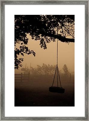 Swing In The Fog Framed Print by Cheryl Baxter