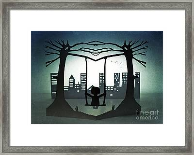 Swing With A City View Framed Print by Catherine MacBride