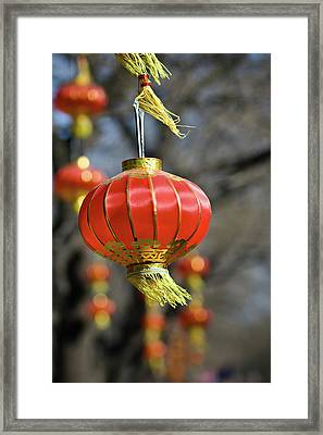 Swinging Chinese Lanterns Framed Print