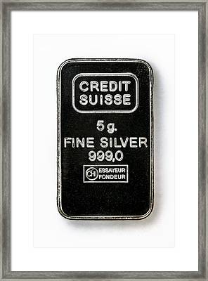 Swiss Silver Bar Framed Print by Laguna Design