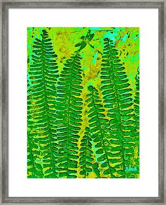 Sword Fern Fossil-green Framed Print