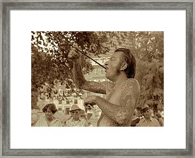 Framed Print featuring the photograph Sword Swallower by Tom Wurl