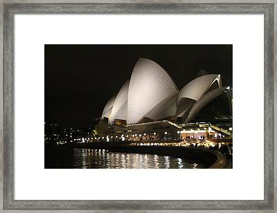 Framed Print featuring the photograph Sydney Opera House At Night by Laurel Talabere