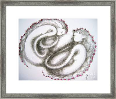Framed Print featuring the drawing Symbiotic by Marat Essex