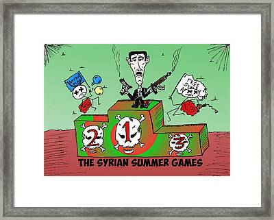 Syrian Summer Games Cartoon Framed Print by Yasha Harari