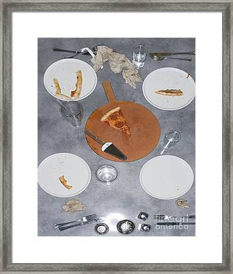 Table After Pizza Dinner Framed Print by Andersen Ross