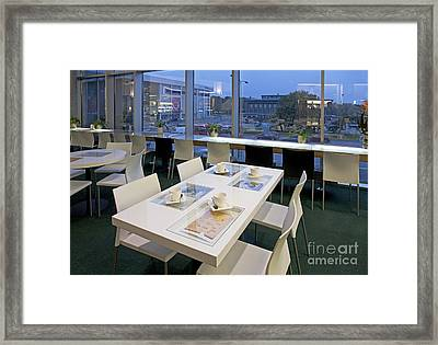 Table At An Upscale Cafe With A View Framed Print