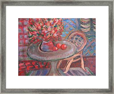 Table With Flowers And Chair Framed Print by Anne-Elizabeth Whiteway