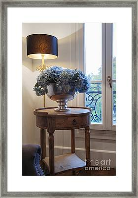 Table With Silver Bowl Framed Print by Noam Armonn