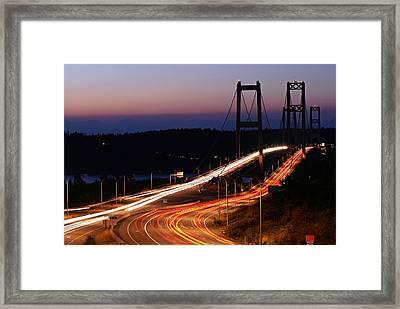 Tacoma Narrows Bridges Flowing Light  Framed Print
