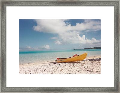 Tahiti Ocean Kayak On Beach Framed Print by Mark Norman
