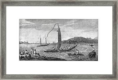 Tahitian Sailing Vessels, 18th Century Framed Print by Cci Archives