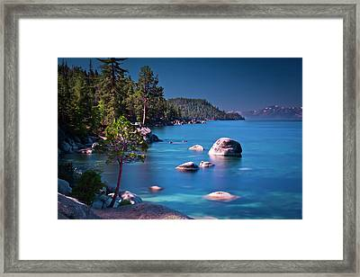 Tahoe On The Rocks Framed Print by Donni Mac