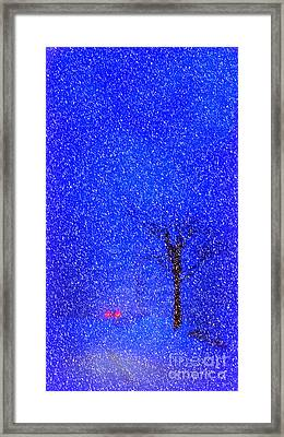 Tail Lights In A Snow Storm Framed Print by Lila Fisher-Wenzel