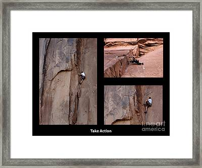 Take Action With Caption Framed Print