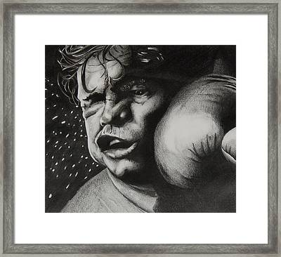 Take It Like A Man Framed Print by Joan Pollak