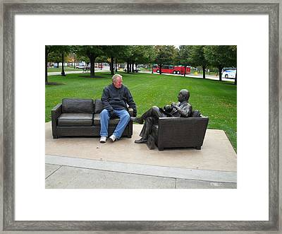 Talking To A Statue Framed Print