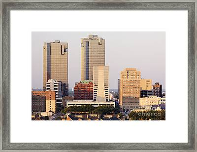 Tall Buildings In Fort Worth At Dusk Framed Print by Jeremy Woodhouse