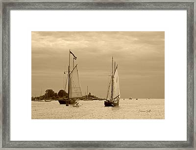 Tall Ships Sailing In Sepia Framed Print by Suzanne Gaff