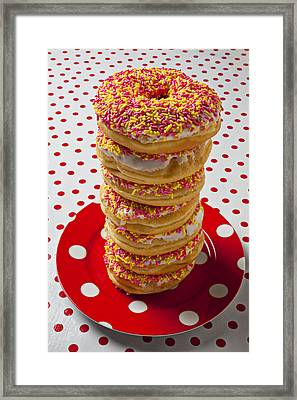 Tall Stack Of Donuts Framed Print by Garry Gay