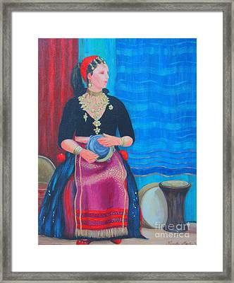 Framed Print featuring the painting Tambourine Lady by Nareeta Martin
