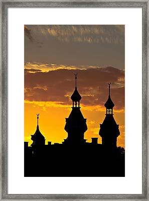 Framed Print featuring the photograph Tampa Bay Hotel Minarets At Sundown by Ed Gleichman