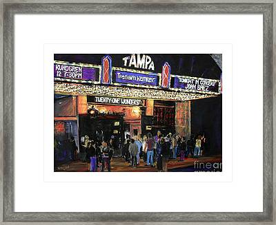 Tampa Theatre Night Lights Framed Print by Barry Rothstein