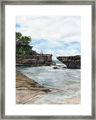 Framed Print featuring the painting Tanah Lot Temple II Bali Indonesia by Melly Terpening