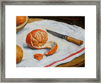 Tangerine And Knife Framed Print