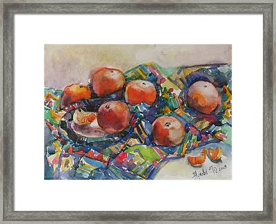 Tangerines Framed Print by Juliya Zhukova